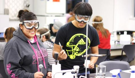 Students in the lab with safety goggles