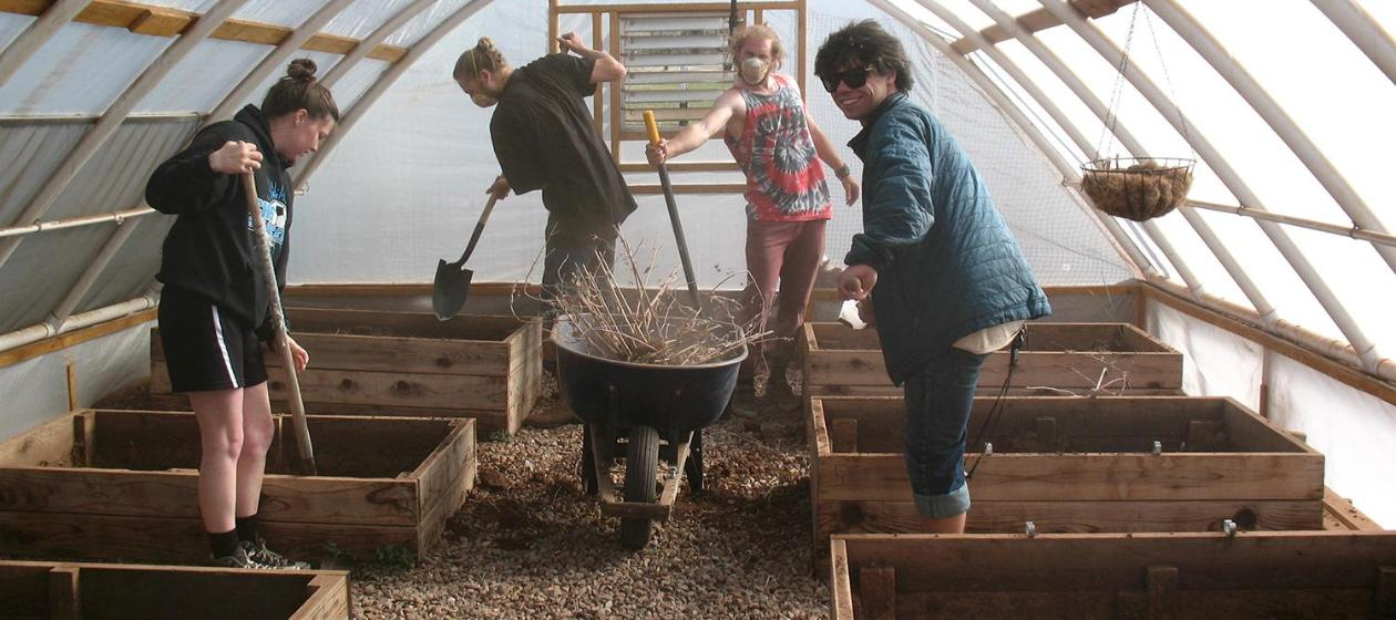 Students working in the hoop house