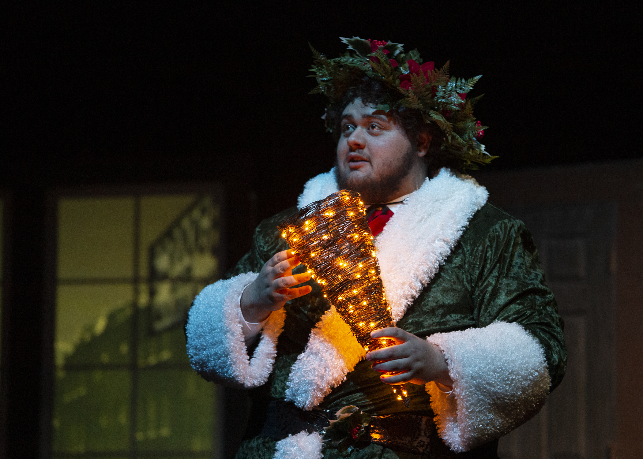 CWC theatre student portrays the ghost of Christmas present in a Christmas Carol