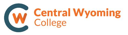 Central Wyoming College logo with blue C and orange words