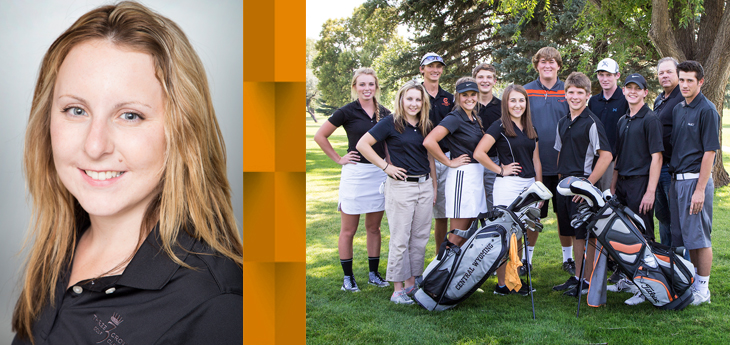 photo of golfer Bailee Watt and the CWC golf team photo