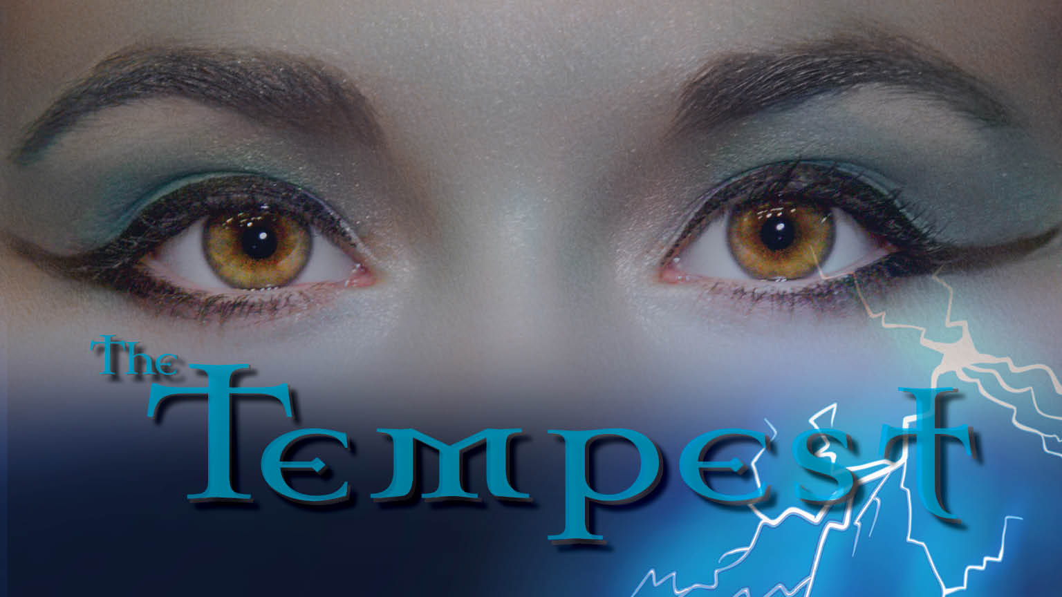 Playbill of The Tempest. Photo of a women's eyes and a man standing on a rock in a lightning storm