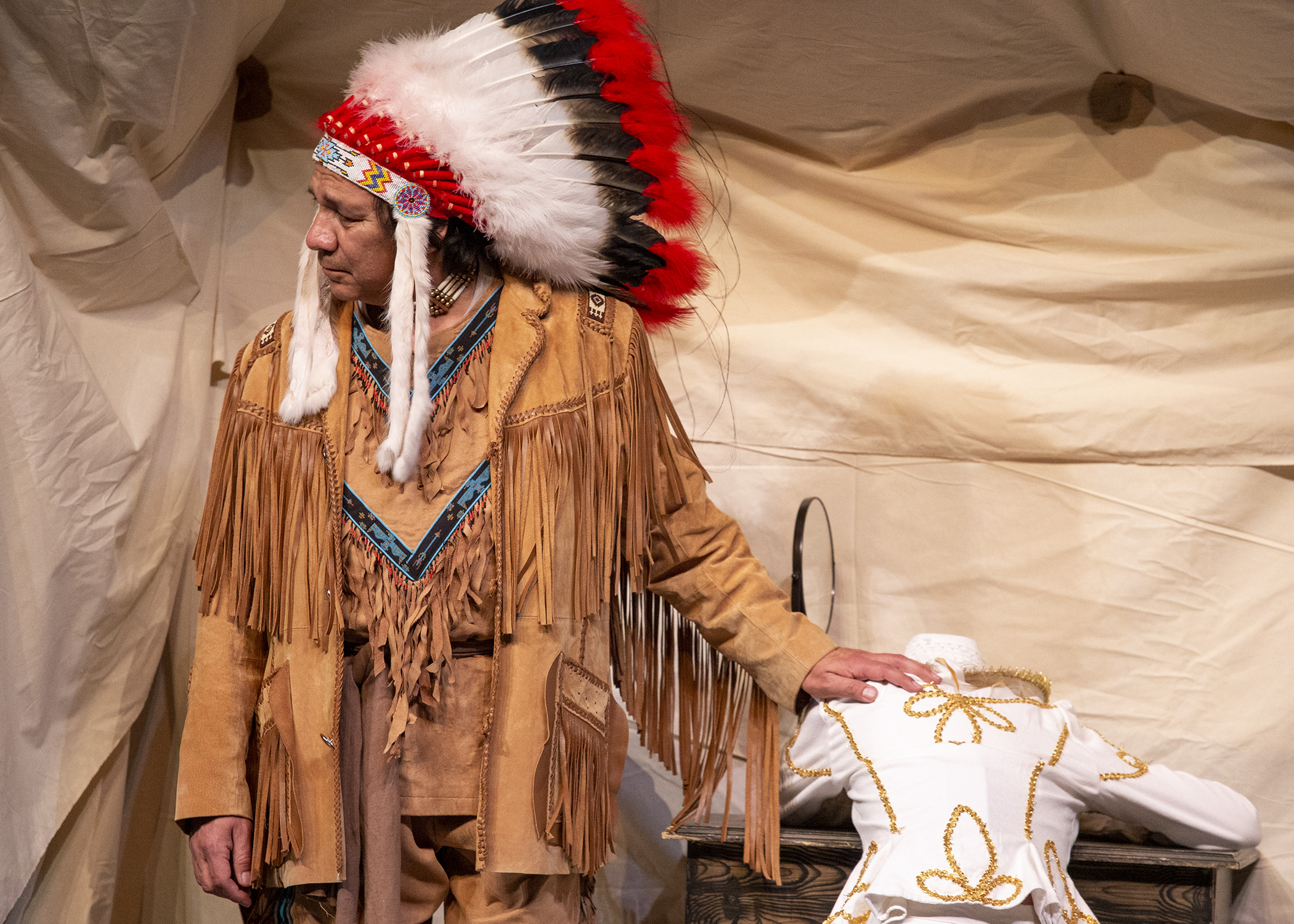 Chief Sitting Bull comforts Annie during the CWC theater production of