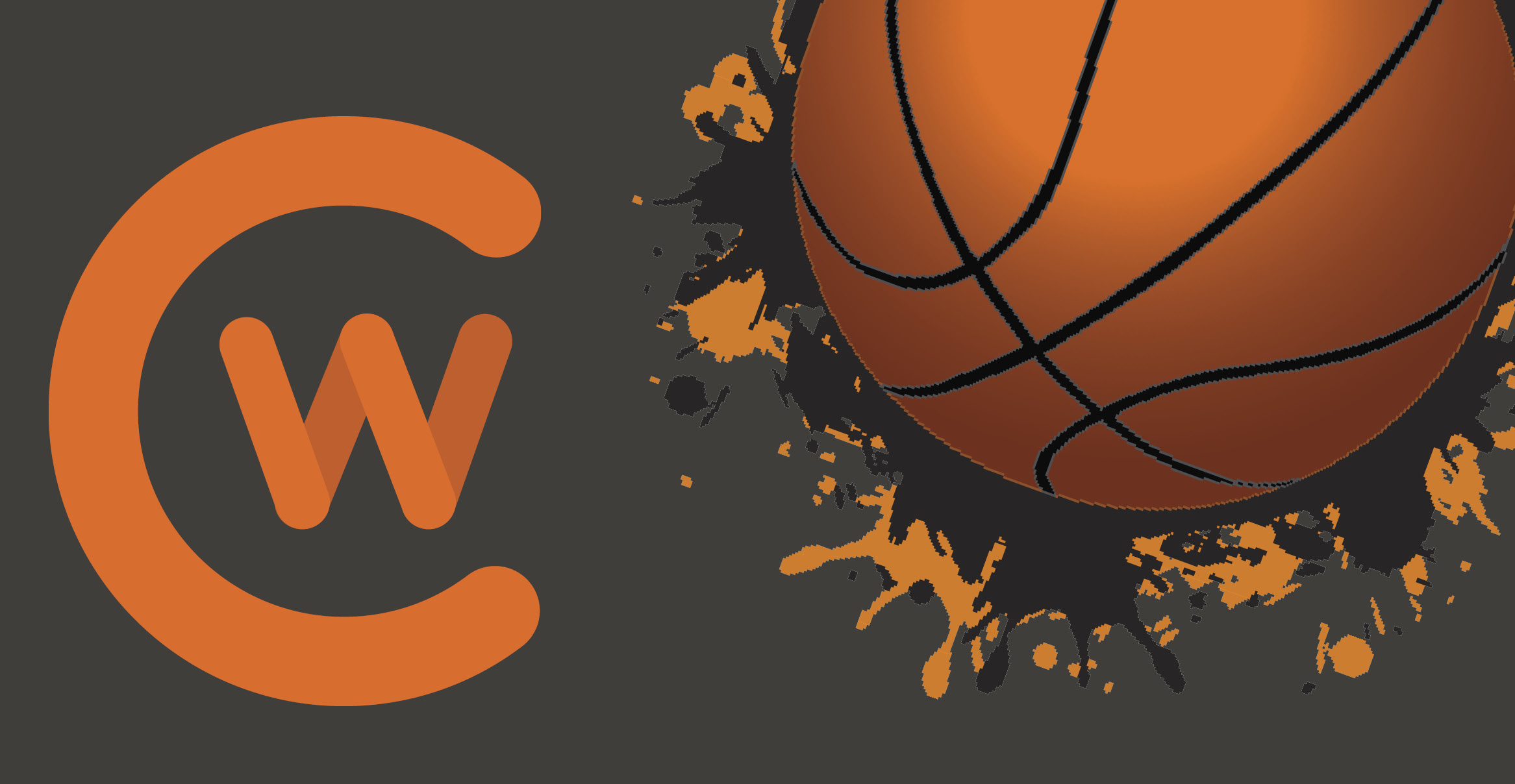 graphic of a basketball with the CWC logo