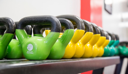 Green and yellow dumbbells